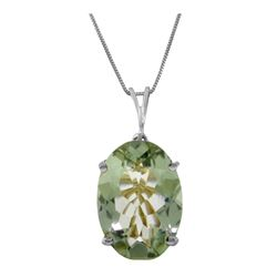 Genuine 7.55 ctw Green Amethyst Necklace 14KT White Gold