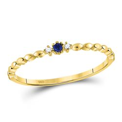 0.03 CTW Blue Sapphire Diamond Stackable Ring 10kt Yellow Gold