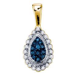 0.17 CTW Blue Color Enhanced Diamond Teardrop Pendant 10kt Yellow Gold