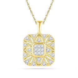 0.16 CTW Diamond Square Cluster Pendant 10kt Yellow Gold