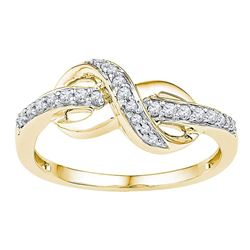 0.15 CTW Diamond Knot Infinity Ring 10kt Yellow Gold