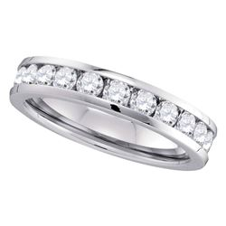 1 CTW Channel-set Diamond 4.5mm Wedding Ring 14kt White Gold