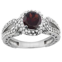 1.51 CTW Garnet & Diamond Ring 14K White Gold