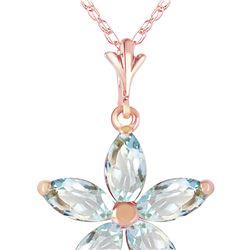 Genuine 1.40 ctw Aquamarine Necklace 14KT Rose Gold