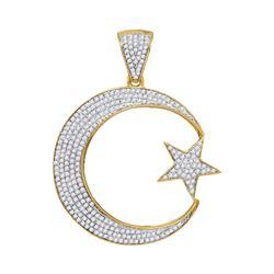 0.80 CTW Diamond Star & Crescent Charm Pendant 10kt Yellow Gold
