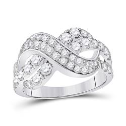 1.50 CTW Pave-set Diamond Infinity Crossover Ring 14kt White Gold