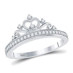 0.16 CTW Diamond Crown Tiara Fashion Ring 10kt White Gold