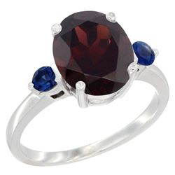 2.64 CTW Garnet & Blue Sapphire Ring 14K White Gold