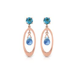 Genuine 2.4 ctw Blue Topaz Earrings 14KT Rose Gold