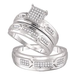 0.20 CTW Diamond Cluster Matching Bridal Wedding Ring 10kt White Gold