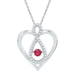 0.28 CTW Lab-Created Ruby Diamond Infinity Heart Pendant 10kt White Gold
