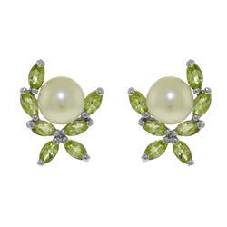Genuine 3.25 ctw Pearl & Peridot Earrings 14KT White Gold