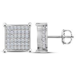 1.48 CTW Diamond Square Cluster Stud Earrings 10kt White Gold