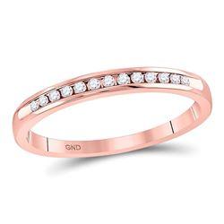 0.10 CTW Diamond Single Row Channel-set Wedding Ring 14kt Rose Gold