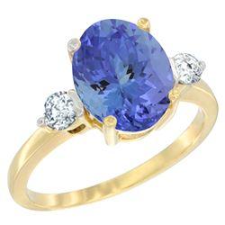 2.59 CTW Tanzanite & Diamond Ring 10K Yellow Gold