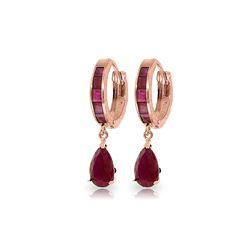 Genuine 4.8 ctw Ruby Earrings 14KT Rose Gold
