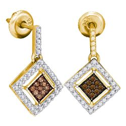 0.50 CTW Brown Diamond Square Dangle Earrings 10kt Yellow Gold