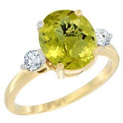 2.60 CTW Lemon Quartz & Diamond Ring 14K Yellow Gold