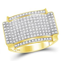 0.55 CTW Diamond Rectangle Cluster Ring 10kt Yellow Gold