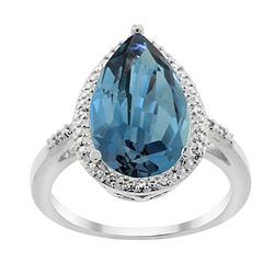 5.55 CTW London Blue Topaz & Diamond Ring 14K White Gold