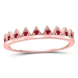 0.10 CTW Ruby Beaded Chevron Stackable Ring 10kt Rose Gold