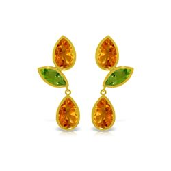Genuine 13.6 ctw Citrine & Peridot Earrings 14KT Yellow Gold