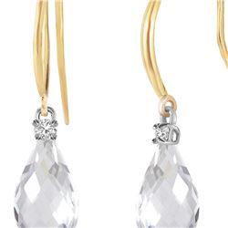 Genuine 4.6 ctw White Topaz & Diamond Earrings 14KT Yellow Gold