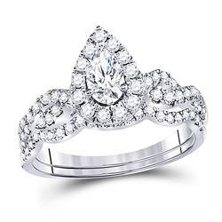 0.97 CTW Pear Diamond Bridal Wedding Engagement Ring 14kt White Gold