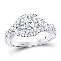 1.11 CTW Diamond 3-stone Twist Bridal Wedding Engagement Ring 14kt White Gold