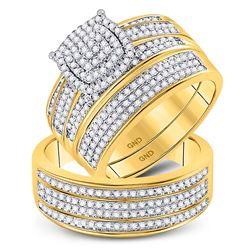 0.80 CTW Diamond Cluster Matching Bridal Wedding Ring 10kt Yellow Gold