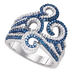 0.77 CTW Blue Color Enhanced Diamond Wide Swirl Curl Cocktail Ring 10kt White Gold