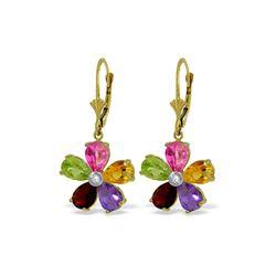 Genuine 4.43 ctw Pink Topaz, Citrine & Amethyst & Diamond Earrings 14KT Yellow Gold