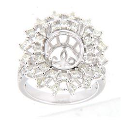 1.69 CTW Diamond Semi Mount Ring 18K White Gold