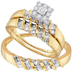 0.13 CTW Diamond Solitaire Matching Bridal Wedding Ring 10kt Yellow Gold