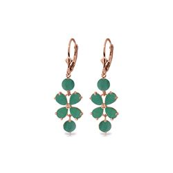 Genuine 5.32 ctw Emerald Earrings 14KT Rose Gold