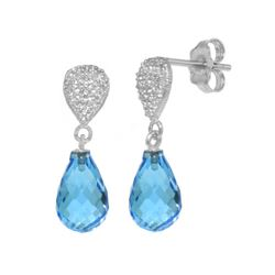 Genuine 4.53 ctw Blue Topaz & Diamond Earrings 14KT White Gold