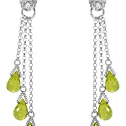 Genuine 10.53 ctw Peridot & Diamond Earrings 14KT White Gold