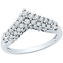 0.50 CTW Diamond Chevron Ring 10kt White Gold