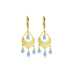 Genuine 6.75 ctw Blue Topaz Earrings 14KT Yellow Gold