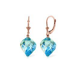 Genuine 27.85 ctw Blue Topaz Earrings 14KT Rose Gold