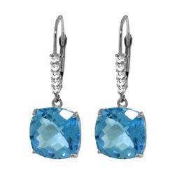 Genuine 7.35 ctw Blue Topaz & Diamond Earrings 14KT White Gold