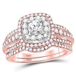 0.99 CTW Diamond Bridal Wedding Engagement Ring 14kt Rose Gold