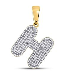 0.60 CTW Diamond Letter H Bubble Initial Charm Pendant 10kt Yellow Gold