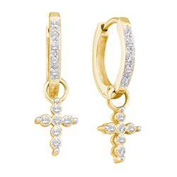 0.11 CTW Diamond Cross Dangle Hoop Earrings 10kt Yellow Gold
