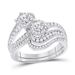 1.03 CTW Diamond Bridal Wedding Engagement Ring 14kt White Gold