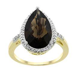 5.55 CTW Quartz & Diamond Ring 10K Yellow Gold
