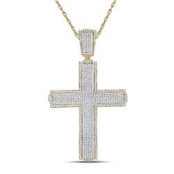 2.51 CTW Diamond Cross Charm Pendant 10kt Yellow Gold