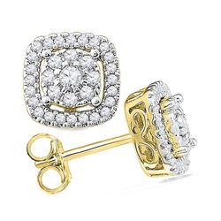 0.50 CTW Diamond Framed Square Cluster Screwback Earrings 10kt Yellow Gold