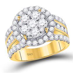 2.99 CTW Diamond Cluster Bridal Wedding Engagement Ring 14kt Yellow Gold