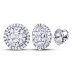 1.01 CTW Diamond Halo Cluster Earrings 14kt White Gold